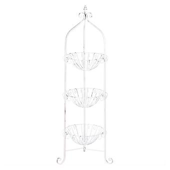 Accent Plus White Three-Tier Wire Basket Stand, Pack of 1