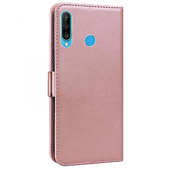 Case For Huawei P30 Lite Wallet Flip Pu Leather Cover Card Holder Coque Etui - Pink Cat