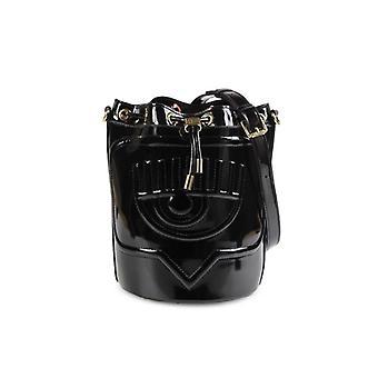 Chiara Ferragni Eyelike Black Patent Bucket Bag