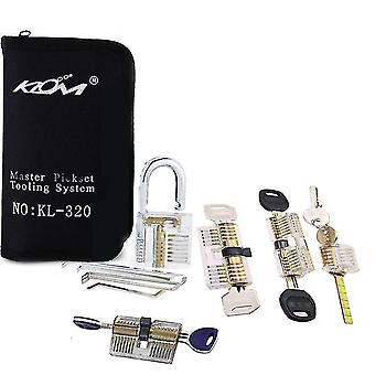 Klom 32pcs lock pickset tools verwijderen handgereedschap met 9 stuks transparante praktijk slotopener