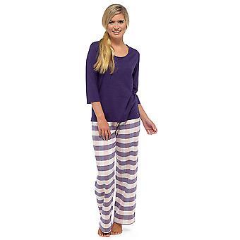 Ladies Tom Franks Yarn Dyed Check Trouser Long Pyjama Pajama Sleepwear Set