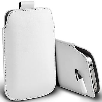 Huawei Honor 4C Slip In Pull Tab Faux Leather Pouch Case Cover (White)