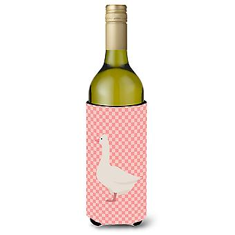 Romeinse Goose roze Check wijnfles Beverge isolator Hugger