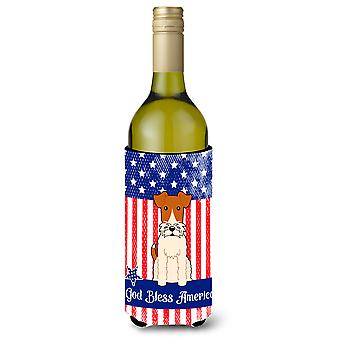 Patriotic USA Wire Fox Terrier Wine Bottle Beverge Insulator Hugger