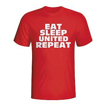 Essen Sie schlafen Man Utd wiederholen T-shirt (rot) - Kids