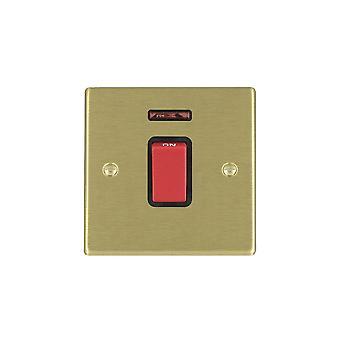 Hamilton Litestat Hartland Satin Brass 1g 45A Double Pole + Neon Red Rocker/BL