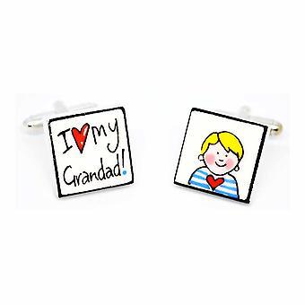 Sonia Spencer I love my Grandad - Boy Cufflinks - English Bone China Hand Crafted Cuff Links