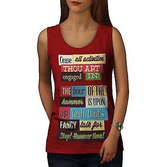 Hammer Time Slogan Women RedTank Top | Wellcoda