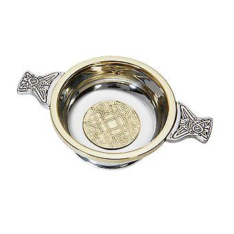 Celtic Medium tenn Quaich med präglad mässing medalj