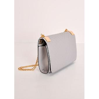 Quilted Gold Chain Bag Grey