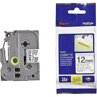 Merking tape (ekstra sterk lim) bror TZe, TZ TZe-S131 Tape farge: gjennomsiktig skrift farge: svart 12 mm 8 m