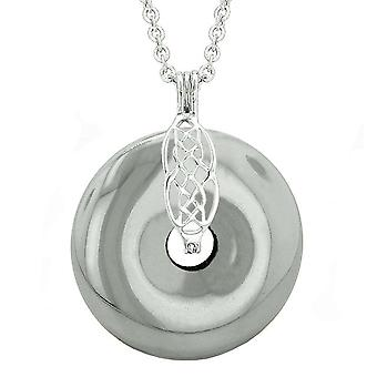 Celtic Shield Knot Protection Magic Powers Amulet Hematite Lucky Donut Pendant 18 Inch Necklace