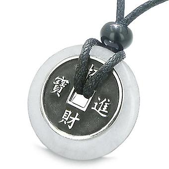Amulett Glücksmünze Charme Donut Jade Schutz Kräfte Antik Anhänger Halskette