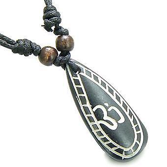 Amulet oprindelige tibetanske OM Tear Drop Tag bøn naturlige knogle magiske kræfter vedhæng halskæde