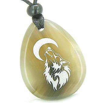 Mutige Schutz Amulett Heulender Wolf Mond viel Glück Befugnisse Achat Totem Stein Anhänger Halskette