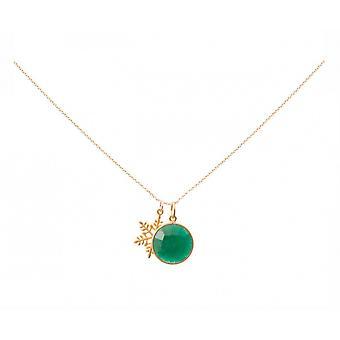 Collier - pendentif - flocon de neige - argent plaqué - émeraude - vert - 45 cm