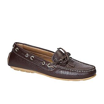 Womens driving moccasins in dark full grain leather