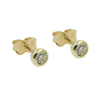 Koble 4mm kubikk zirconia runde 9Kt gull