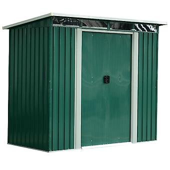 Outsunny 7ft x 6ft Outdoor Pent Roofed Metal Garden Shed Tool Storage with Foundation and Ventilation Green 238.4L x 193.2W x 202.6H cm