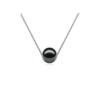 Kvinna Silver 925/1000 och Perle de kultur av sötvatten svart halsband