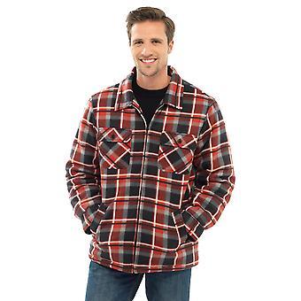 Storm Ridge Mens Polar Fleece Checkered Long Sleeve Shirt - Red - XL