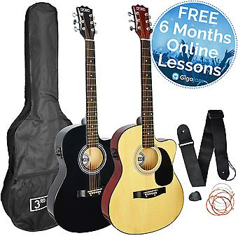 3rd Avenue Cutaway Electro Acoustic Guitar Pack - Available in Black or Natural