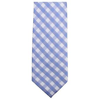 Knightsbridge Neckwear Checked Tie - Light Blue/White