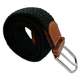 Bassin and Brown Plain Elasticated Woven Belt - Black