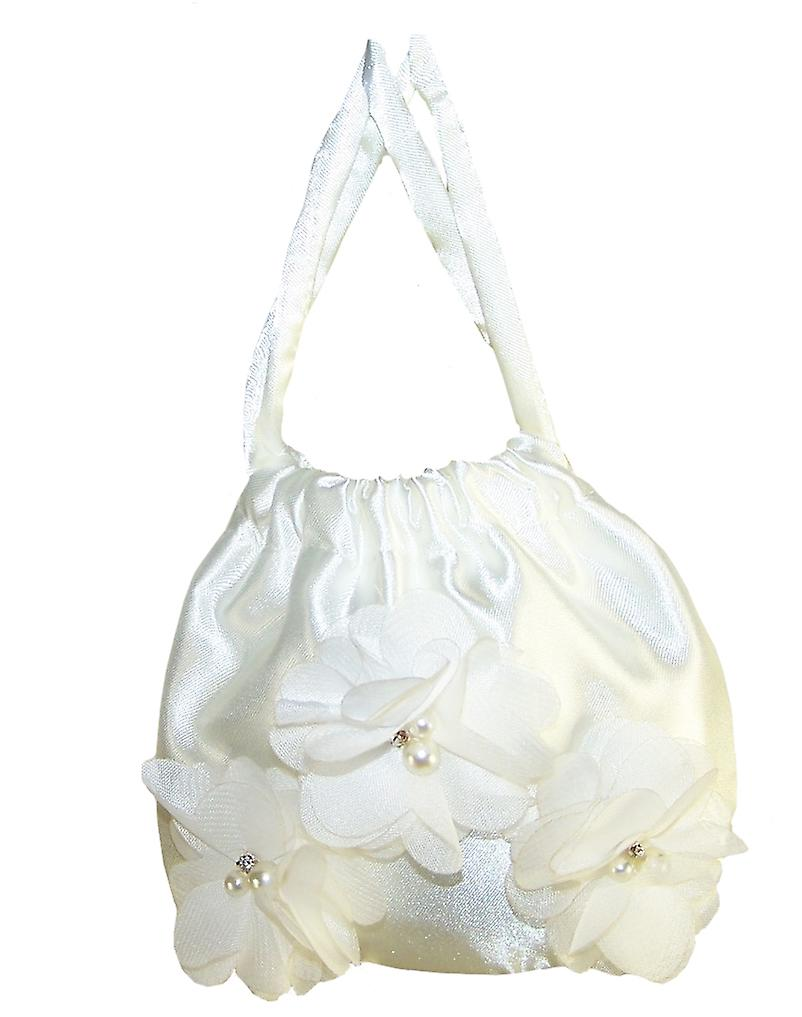 Girls ivory satin drawstring handbag