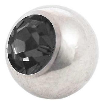Piercing udskiftning bold, sort sten | 1,6 x 4, 5 og 6 mm, krop smykker