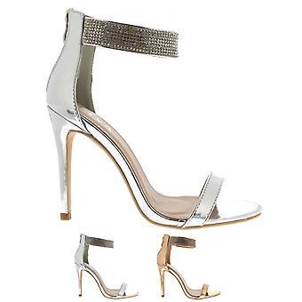 Womens Diamante Ankle Strap High Heel Party Mode Abend Hochzeit Schuhe UK 3-8