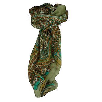 Mora seda bufanda cuadrada tradicional Aimee gris y aguamarina por Pashmina y seda