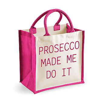 Medium Jute Bag Prosecco Made Me Do It Pink