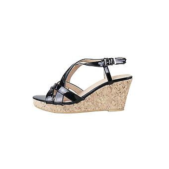 LMS Black Strappy Mid Height Wedged Sandal With Cork Sole