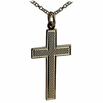 9ct Gold 34x19mm engine turned barley infill flat latin Cross with belcher Chain 24 inches