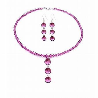 Fuchsia Swarovski krystaller smykker Drop Down vedhæng øreringe halskæde