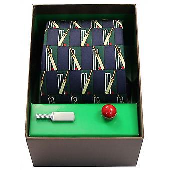 David Van Hagen Cricket Themed Tie and Cufflink Set - Navy/Green