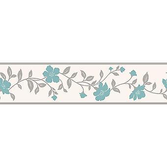 K2 fleurs Floral fond frontière Teal gris blanc argent métallisé brillant moderne