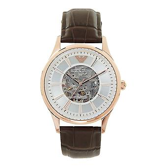 Armani Watches Ar2073 Meccanico Rose Gold & Brown Textured Leather Automatic Men's Watch