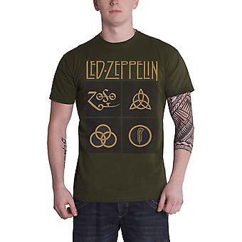 Led Zeppelin T Shirt Gold Symbols In Black Squares new Official Mens Green