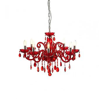 Premier Home Murano Chrome & Red Crystal Glass Chandelier, Chrome, Glass, Iron, K9 Crystal, Red