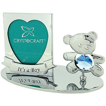 "Crystocraft Freestanding Chrome Plated ""It's A Boy"" Photo Frame Ornament Made With Swarovski Crystals"