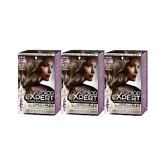 Schwarzkopf Color Expert 6.0 Light Brown Omegaplex Permanent Hair Dye x 3 Pack