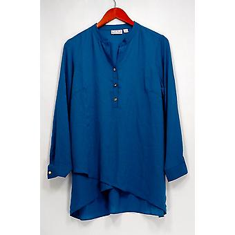 Joan Rivers Top Flowy Tunique avec Sheer Overlay Blue A301917