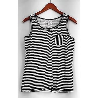 Carole Hochman Sleepshirt Striped Tank Sleep Shirt White / Black A286848