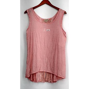 One World Top Sleeveless Oil Wash Lace Trim Tank Pink Womens A431409
