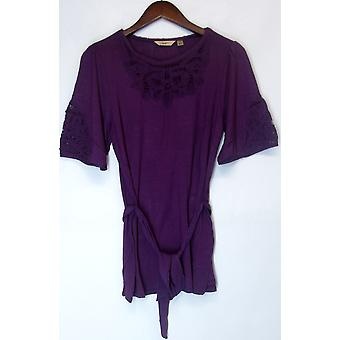 Motto Elbow Sleeve Boatneck Knit Top w/ Lace Plum Purple A200641