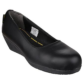 Amblers Safety Womens FS107 Antibacterial Memory Foam Slip on Wedged Safety Court Shoe Black