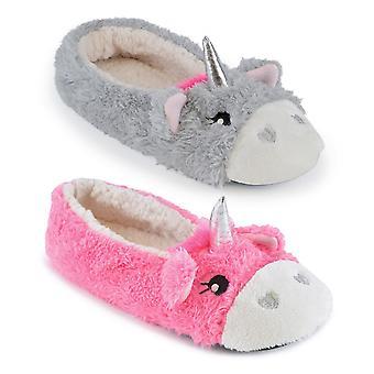 Magical Unicorn Soft Slippers In Ballerina Ballet Pump Style For Women/Teen Girls UK/EU Sizes
