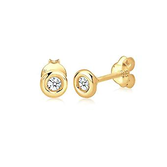 Love: women's earrings - yellow gold 585 - white diamond (0 -12k) - round cut - 0303320714